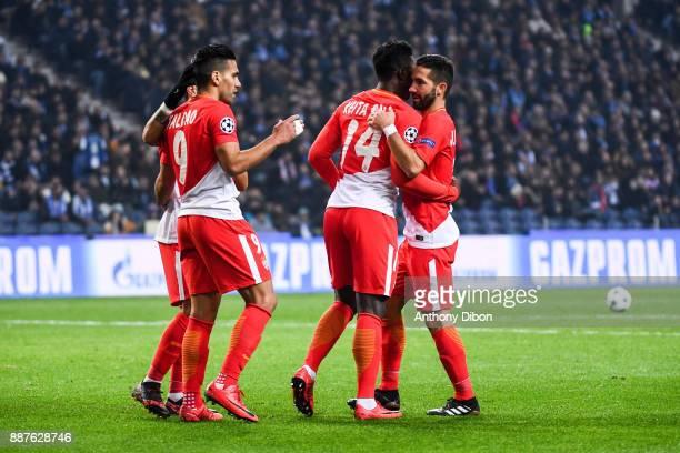 Radamel Falcao of Monaco celebrates his goal with Keita Balde and Joao Moutinho of Monaco during the Uefa Champions League match between Fc Porto and...
