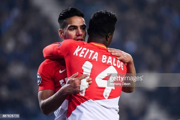 Radamel Falcao of Monaco celebrates his goal with Keita Balde of Monaco during the Uefa Champions League match between Fc Porto and As Monaco at...