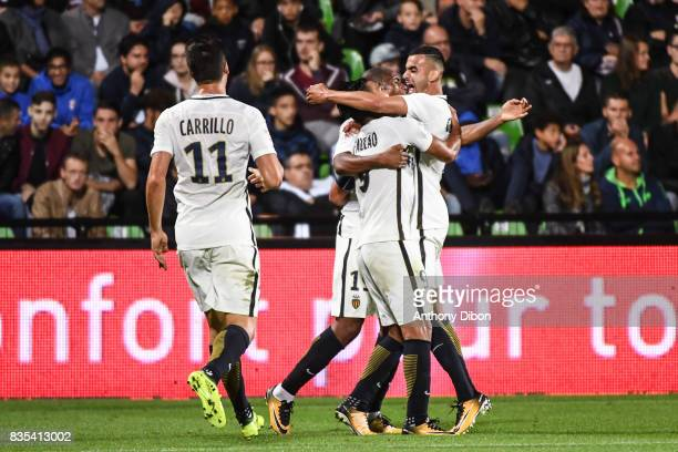 Radamel Falcao of Monaco celebrates his goal with Rachid Ghezzal during the Ligue 1 match between FC Metz and AS Monaco on August 18 2017 in Metz