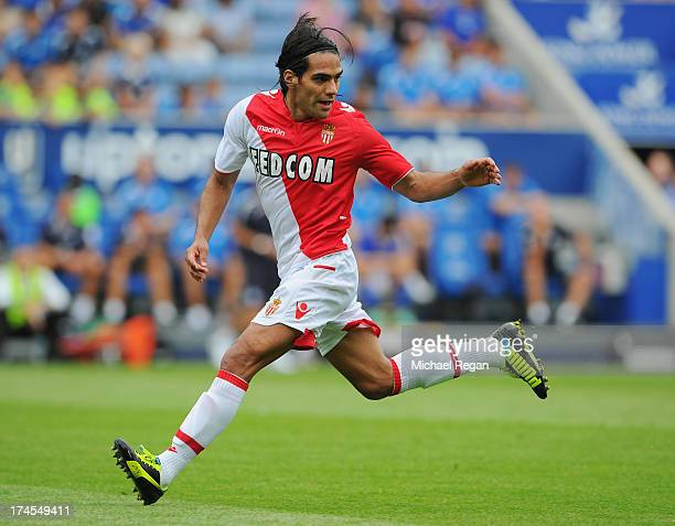 Radamel Falcao of Monaco in action during the the pre season friendly match between Leicester City and Monaco at The King Power Stadium on July 27...