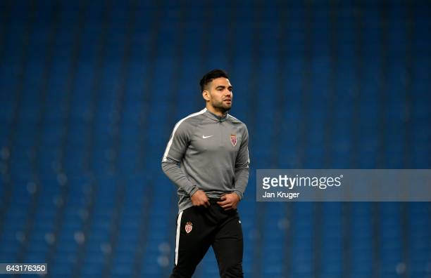 Radamel Falcao of Monaco looks on during a Monaco Training Session and Press Conference ahead of their UEFA Champions League Round of 16 match...