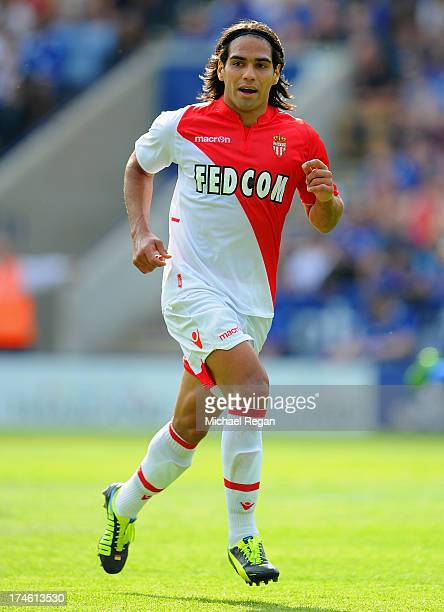 Radamel Falcao of Monaco looks on during the the pre season friendly match between Leicester City and Monaco at The King Power Stadium on July 27...