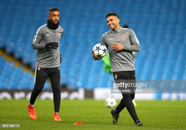 Radamel Falcao of Monaco warms up during a Monaco Training Session and Press Conference ahead of their UEFA Champions League Round of 16 match...