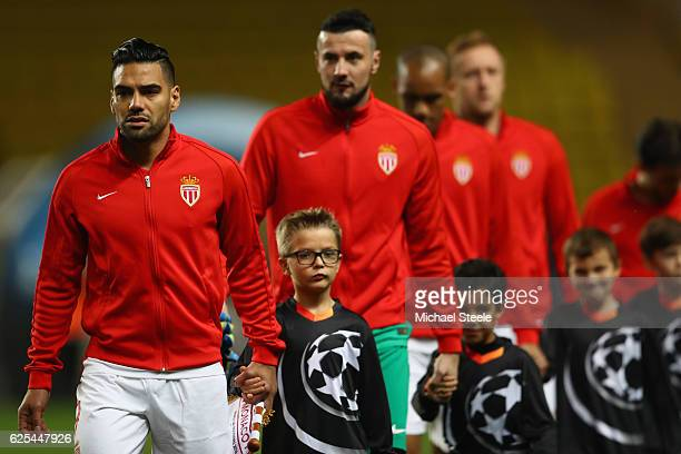Radamel Falcao the captain of Monaco leads his team onto the field during the UEFA Champions League Group E match between AS Monaco FC and Tottenham...