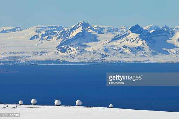 Radar domes at Isfjorden, Svalbard