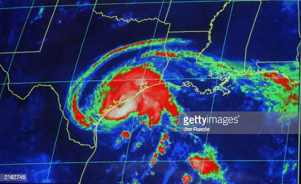 A radar image of Hurricane Claudette is seen as it nears landfall in Texas at the National Hurricane Center July 15 2003 in Miami Claudette was...