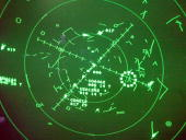 A radar monitor in the Newark Airport control tower shows the planes in the area in New Jersey 26 August 2002 United Airlines Flight 93 took off from...