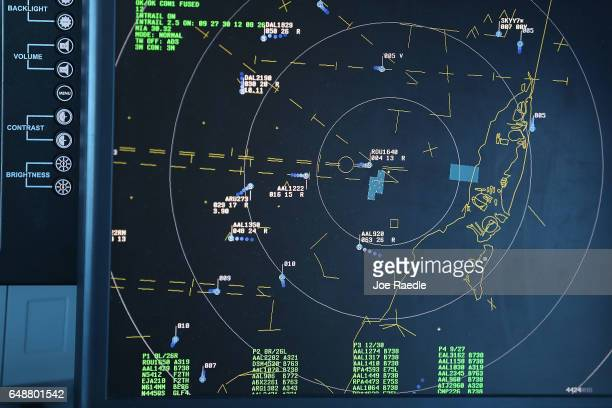 A radar screen is seen as air traffic controllers keep watch using Data Comm part of the Federal Aviation Administration's Next Generation Air...