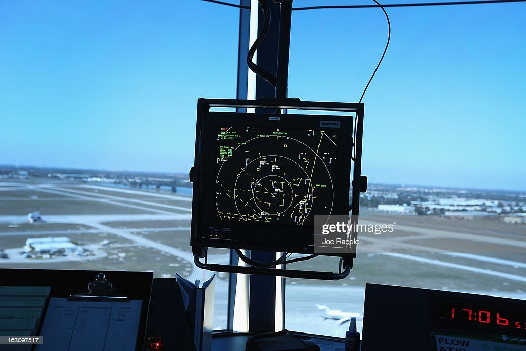 A radar screen is seen in the control tower at Opa-locka airport on March 4, 2013 in Opa-locka, Florida. Due to sequestration cuts, small airports such as Opa-locka, which is a popular spot for corporate jets to land, will close its control tower in April to save federal transportation dollars under the federal spending cuts that went in to affect last week. Even though the control tower will close, planes will still be able to use the airport just without the help from the control tower.