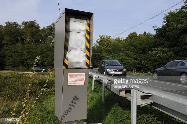 A radar speed control vandalized In Ecouflant France On September 22 2010A radar speed control along the road D52 near Ecouflant France on September...