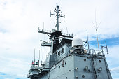 Radar system on the battleship with clear sky