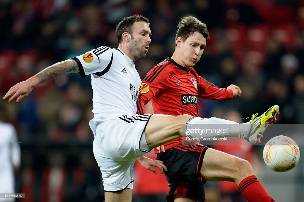 Rade Prica of Rosenborg Trondheim and <a gi-track='captionPersonalityLinkClicked' href=/galleries/search?phrase=Philipp+Wollscheid&family=editorial&specificpeople=6587656 ng-click='$event.stopPropagation()'>Philipp Wollscheid</a> of Leverkusen battle for the ball during the UEFA Europa League Group K match between Bayer 04 Leverkusen and Rosenborg Trondheim at BayArena on December 6, 2012 in Leverkusen, Germany.