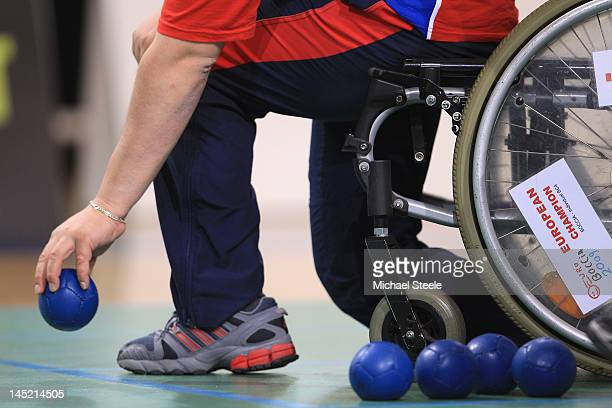 Radec Prochaska of Czech Republic in action in the individual Boccia match between Great Britain and Czech Republic during day three of the BT...
