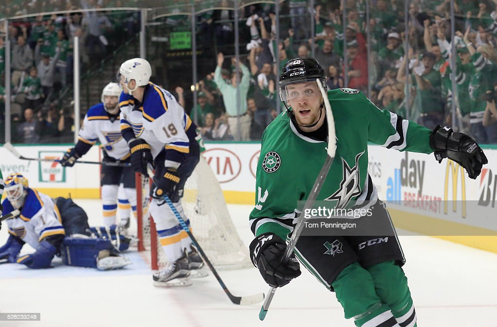 Radek Faksa of the Dallas Stars celebrates after scoring the game winning goal against Brian Elliott of the St Louis Blues in the third period in...