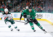 Radek Faksa of the Dallas Stars handles the puck against Chris Porter of the Minnesota Wild in Game Two of the Western Conference Quarterfinals...