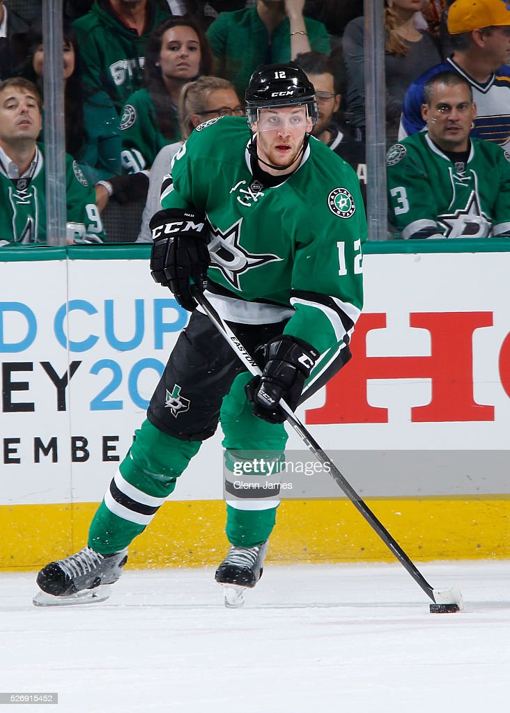 Radek Faksa #12 of the Dallas Stars handles the puck against the St. Louis Blues in Game Two of the Western Conference Second Round during the 2016 NHL Stanley Cup Playoffs at the American Airlines Center on May 1, 2016 in Dallas, Texas.