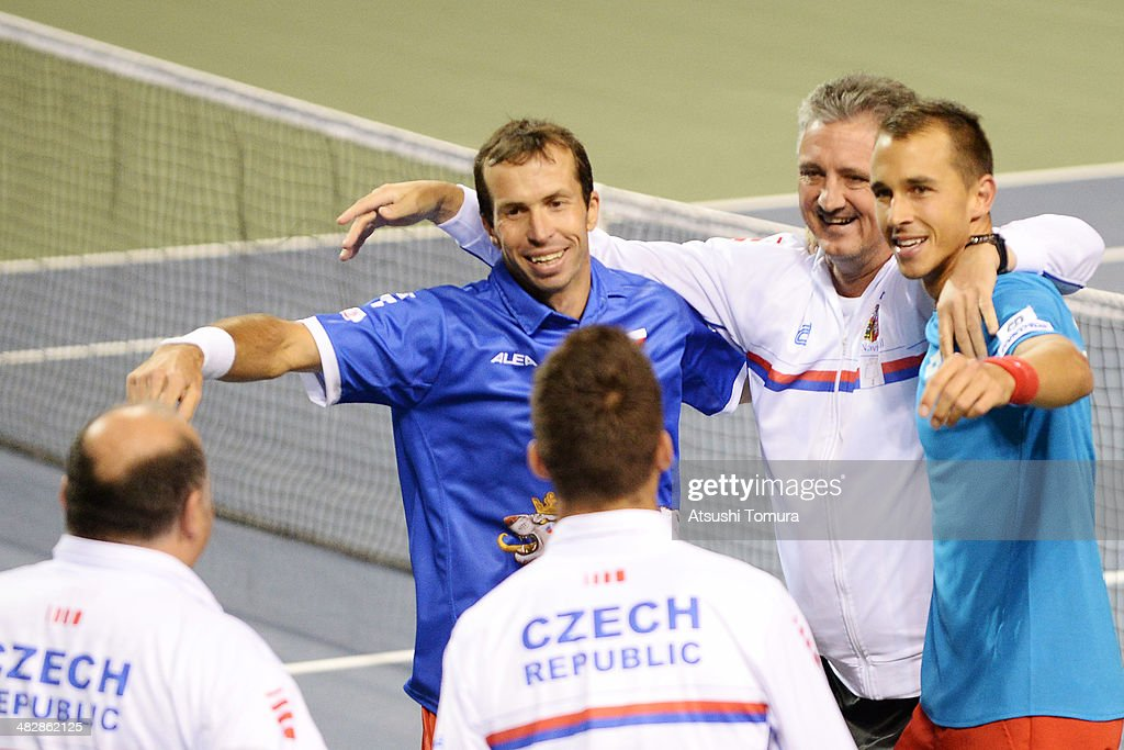 Radek Stepanek and Lukas Rosol of Czech Republic celebrate with teammates after winning their doubles match against Tatsuma Ito and Yasutaka Uchiyama of Japan on day two of the Davis Cup World Group Quarter Final match between Japan and the Czech Republic at Ariake Coliseum on April 5, 2014 in Tokyo Japan.