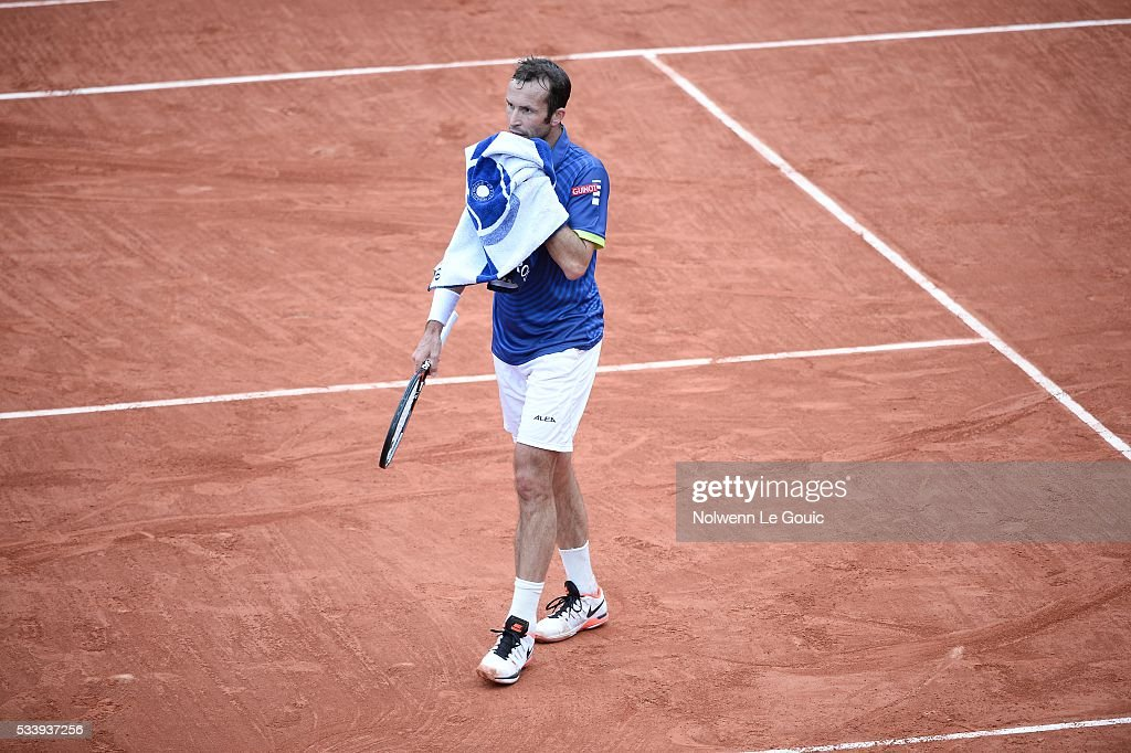 Radek Stepanek is dejected during the Men's Singles first round on day three of the French Open 2016 at Roland Garros on May 24, 2016 in Paris, France.