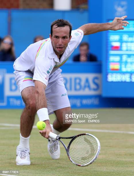 Radek Stepanek lunges for the ball in his match against Feliciano Lopez