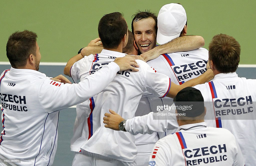 Radek Stepanek of Czech Republic celebrate victory with the team mates during the men's singles match between Dusan Lajovic of Serbia and Radek Stepanek of Czech Republic on day three of the Davis Cup World Group Final between Serbia and Czech Republic at Kombank Arena on November 17, 2013 in Belgrade, Serbia.