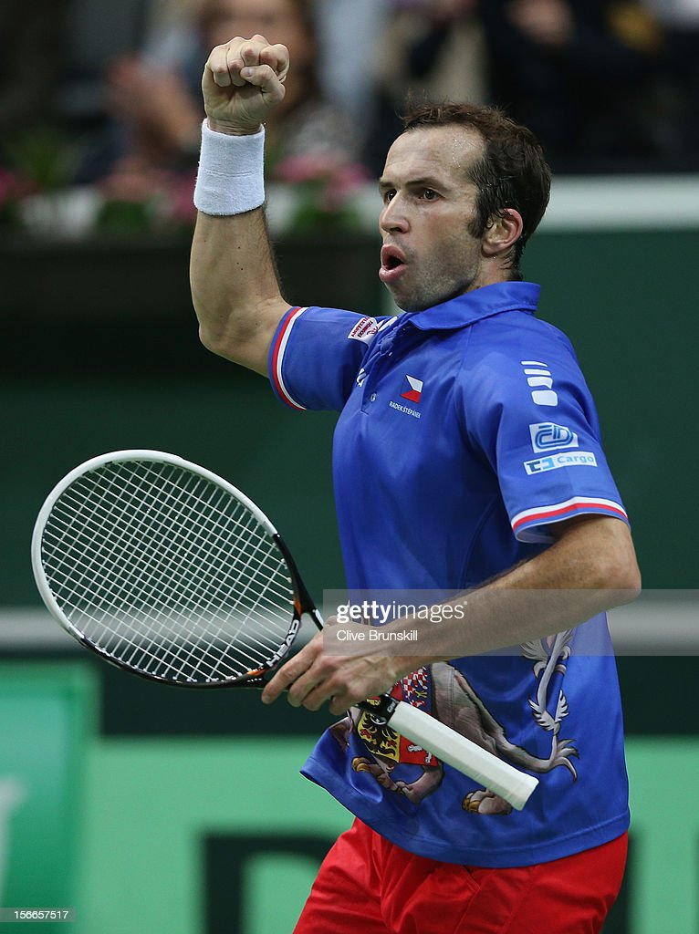 <a gi-track='captionPersonalityLinkClicked' href=/galleries/search?phrase=Radek+Stepanek&family=editorial&specificpeople=193842 ng-click='$event.stopPropagation()'>Radek Stepanek</a> of Czech Republic celebrates a point against Nicolas Almagro of Spain during day three of the final Davis Cup match between Czech Republic and Spain at the 02 Arena on November 18, 2012 in Prague, Czech Republic.