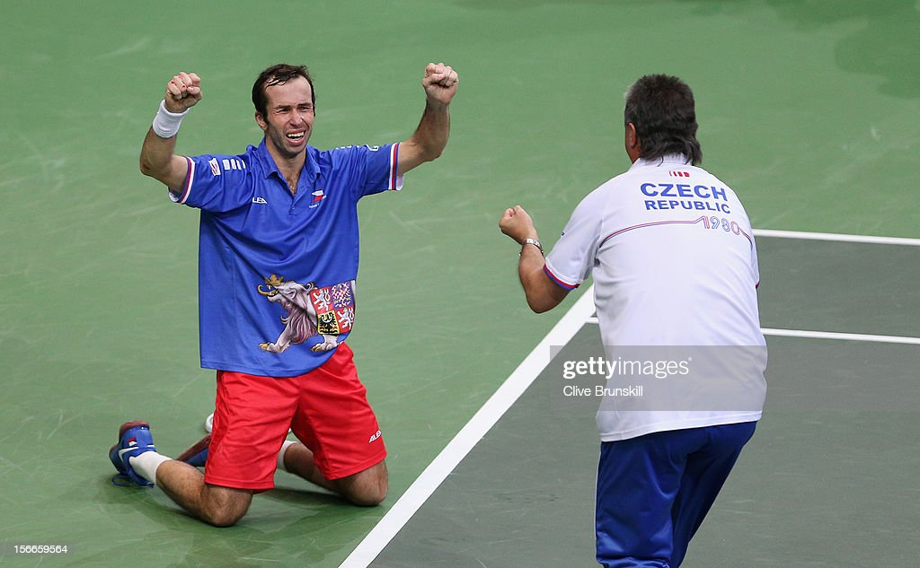 <a gi-track='captionPersonalityLinkClicked' href=/galleries/search?phrase=Radek+Stepanek&family=editorial&specificpeople=193842 ng-click='$event.stopPropagation()'>Radek Stepanek</a> of Czech Republic celebrates after match point with Czech Republic team captain Jaroslav Navratil after his four set victory against Nicolas Almagro of Spain during day three of the final Davis Cup match between Czech Republic and Spain at the 02 Arena on November 18, 2012 in Prague, Czech Republic.
