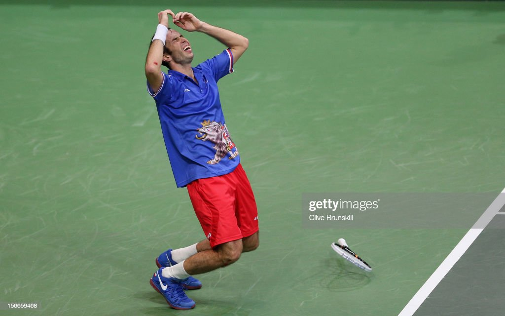 <a gi-track='captionPersonalityLinkClicked' href=/galleries/search?phrase=Radek+Stepanek&family=editorial&specificpeople=193842 ng-click='$event.stopPropagation()'>Radek Stepanek</a> of Czech Republic celebrates match point against Nicolas Almagro of Spain during day three of the final Davis Cup match between Czech Republic and Spain at the 02 Arena on November 18, 2012 in Prague, Czech Republic.