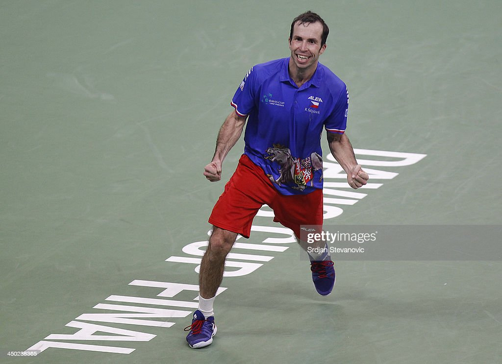 Radek Stepanek of Czech Republic celebrates victory during the men's singles match between Dusan Lajovic of Serbia and Radek Stepanek of Czech Republic on day three of the Davis Cup World Group Final between Serbia and Czech Republic at Kombank Arena on November 17, 2013 in Belgrade, Serbia.