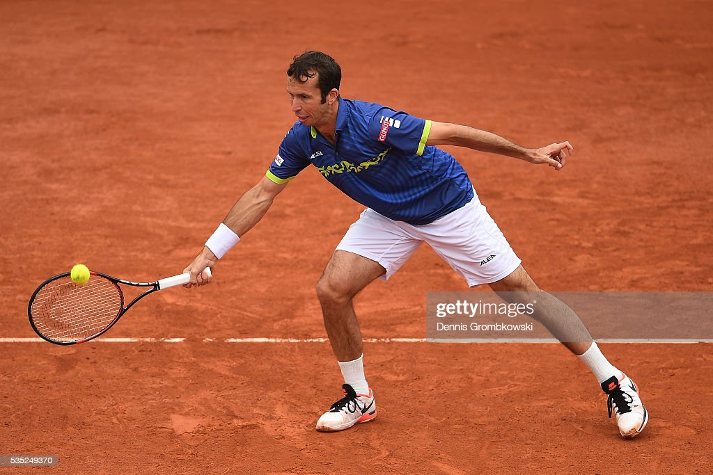 <a gi-track='captionPersonalityLinkClicked' href=/galleries/search?phrase=Radek+Stepanek&family=editorial&specificpeople=193842 ng-click='$event.stopPropagation()'>Radek Stepanek</a> of Czech Republic hits a forehand during the Men's Doubles third round match against Bob Bryan of the United States anf Mike Bryan of the United States on day eight of the 2016 French Open at Roland Garros on May 29, 2016 in Paris, France.