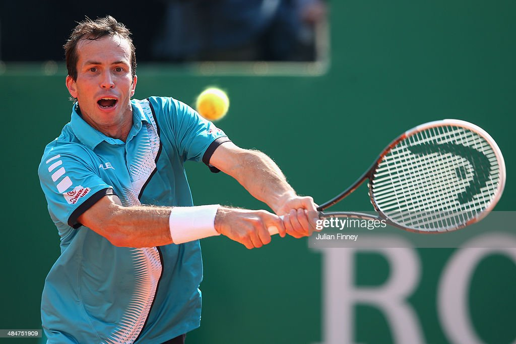Radek Stepanek of Czech Republic in action against Ivo Karlovic of Croatia during day two of the ATP Monte Carlo Rolex Masters Tennis at Monte-Carlo Sporting Club on April 14, 2014 in Monte-Carlo, Monaco.