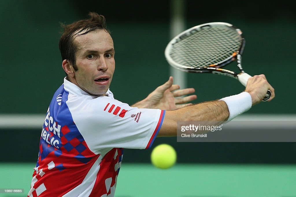 <a gi-track='captionPersonalityLinkClicked' href=/galleries/search?phrase=Radek+Stepanek&family=editorial&specificpeople=193842 ng-click='$event.stopPropagation()'>Radek Stepanek</a> of Czech Republic plays a backhand against David Ferrer of Spain during day one of the final Davis Cup match between Czech Republic and Spain at the 02 Arena on November 16, 2012 in Prague, Czech Republic.