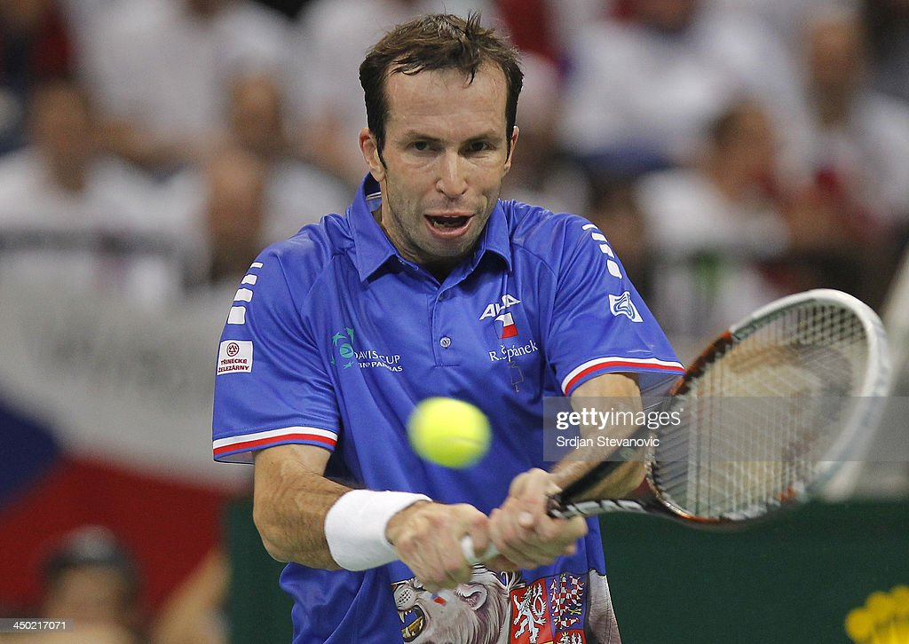 Radek Stepanek of Czech Republic plays a backhand during the men's singles match between Dusan Lajovic of Serbia and TRadek Stepanek of Czech Republic on day three of the Davis Cup World Group Final between Serbia and Czech Republic at Kombank Arena on November 17, 2013 in Belgrade, Serbia.