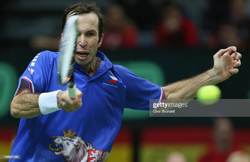 <a gi-track='captionPersonalityLinkClicked' href=/galleries/search?phrase=Radek+Stepanek&family=editorial&specificpeople=193842 ng-click='$event.stopPropagation()'>Radek Stepanek</a> of Czech Republic plays a forehand against Nicolas Almagro of Spain during day three of the final Davis Cup match between Czech Republic and Spain at the 02 Arena on November 18, 2012 in Prague, Czech Republic.