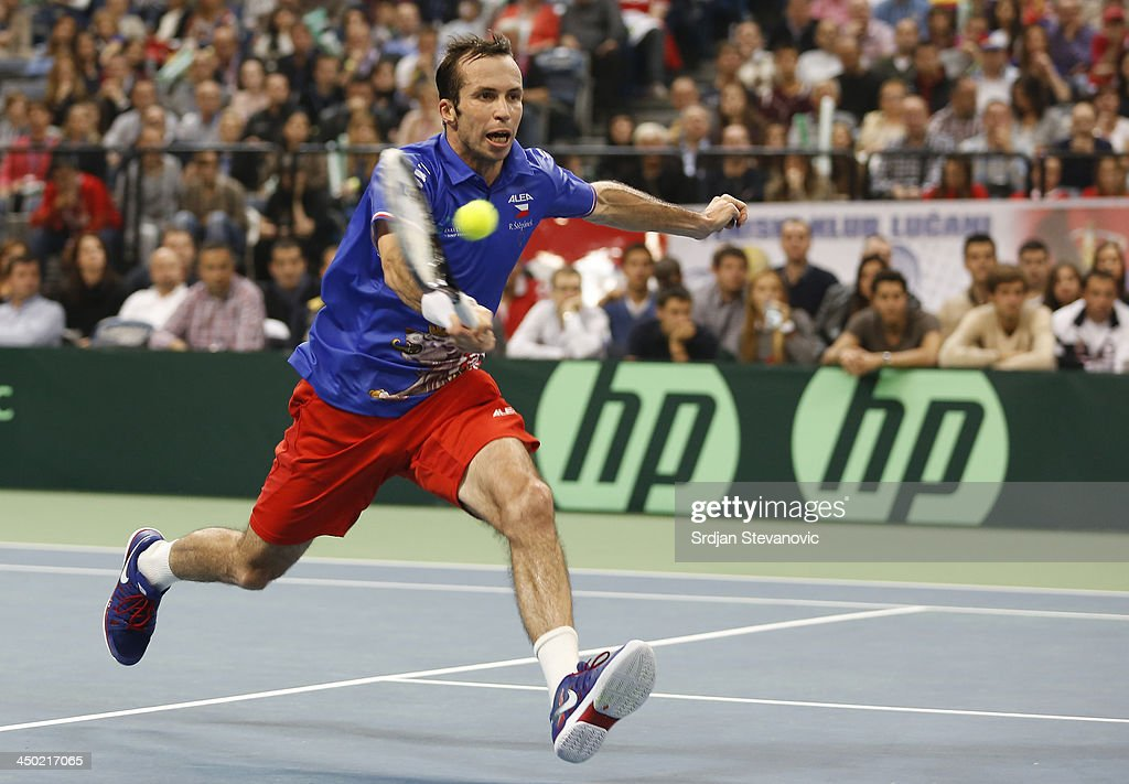 <a gi-track='captionPersonalityLinkClicked' href=/galleries/search?phrase=Radek+Stepanek&family=editorial&specificpeople=193842 ng-click='$event.stopPropagation()'>Radek Stepanek</a> of Czech Republic plays a forehand during the men's singles match between Dusan Lajovic of Serbia and <a gi-track='captionPersonalityLinkClicked' href=/galleries/search?phrase=Radek+Stepanek&family=editorial&specificpeople=193842 ng-click='$event.stopPropagation()'>Radek Stepanek</a> of Czech Republic during day three of the Davis Cup World Group Final between Serbia and Czech Republic at Kombank Arena on November 17, 2013 in Belgrade, Serbia.