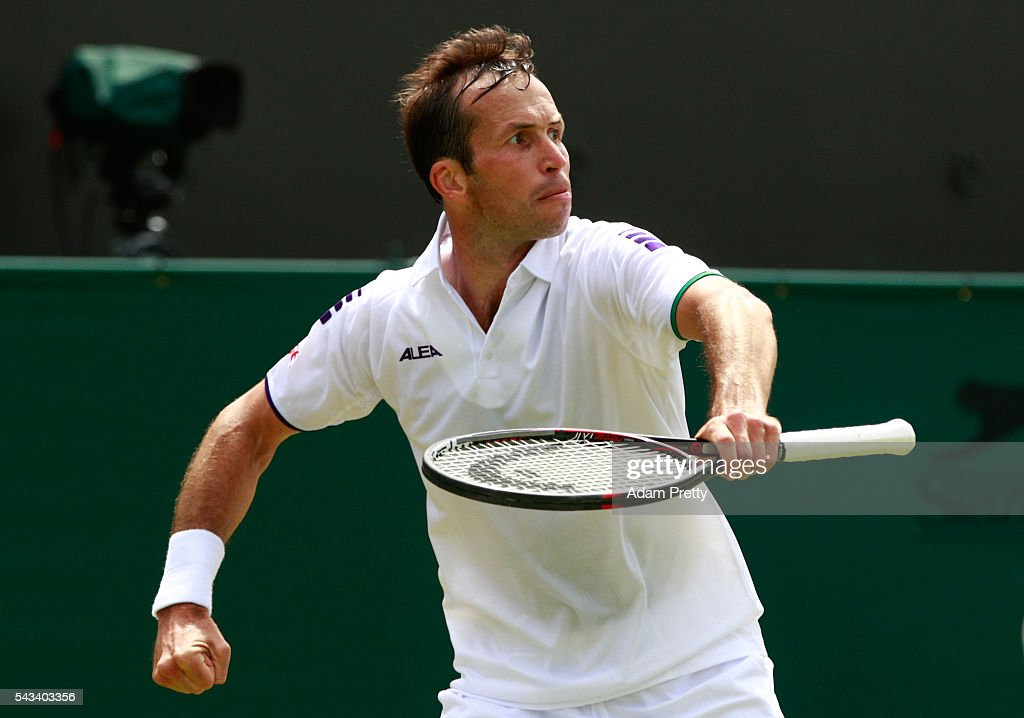 <a gi-track='captionPersonalityLinkClicked' href=/galleries/search?phrase=Radek+Stepanek&family=editorial&specificpeople=193842 ng-click='$event.stopPropagation()'>Radek Stepanek</a> of The Czech Republic celebrates winning a point during the Men's Singles first round match against Nick Kyrgios of Australia day two of the Wimbledon Lawn Tennis Championships at the All England Lawn Tennis and Croquet Club on June 28, 2016 in London, England.