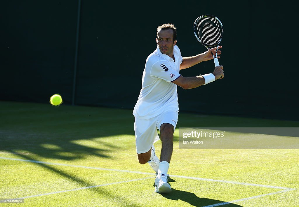 <a gi-track='captionPersonalityLinkClicked' href=/galleries/search?phrase=Radek+Stepanek&family=editorial&specificpeople=193842 ng-click='$event.stopPropagation()'>Radek Stepanek</a> of the Czech Republic in action in his Gentlemens Singles first round match against Aljaz Bedene of Great Britain during day two of the Wimbledon Lawn Tennis Championships at the All England Lawn Tennis and Croquet Club on June 30, 2015 in London, England.