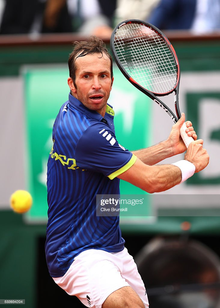 <a gi-track='captionPersonalityLinkClicked' href=/galleries/search?phrase=Radek+Stepanek&family=editorial&specificpeople=193842 ng-click='$event.stopPropagation()'>Radek Stepanek</a> of the Czech Republic plays a backhand during the Men's Singles first round match against Andy Murray of Great Britain on day three of the 2016 French Open at Roland Garros on May 24, 2016 in Paris, France.