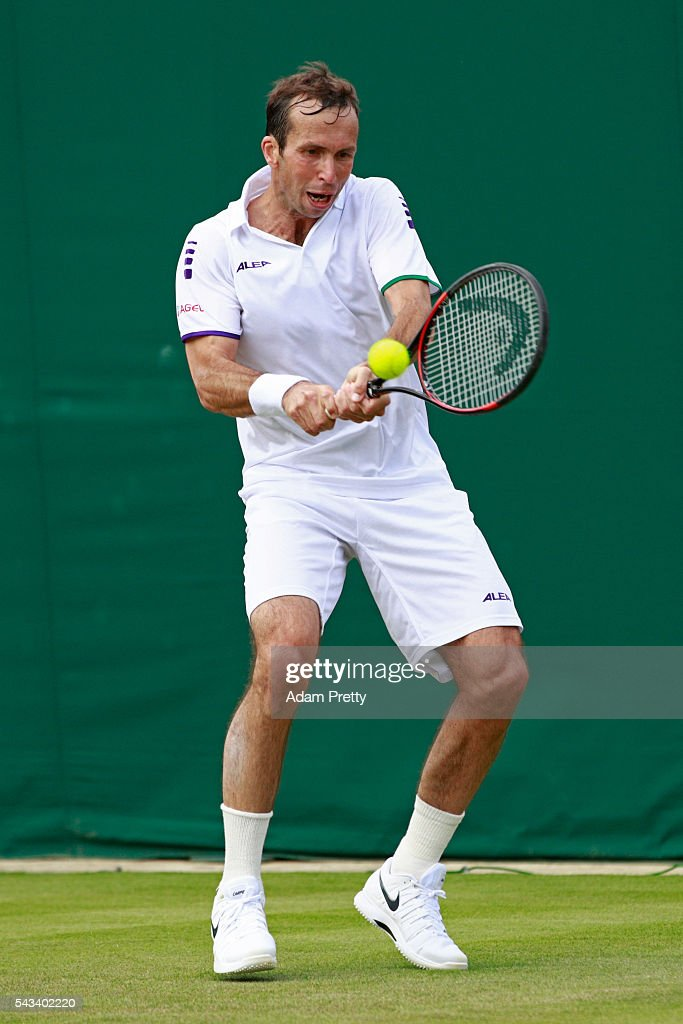<a gi-track='captionPersonalityLinkClicked' href=/galleries/search?phrase=Radek+Stepanek&family=editorial&specificpeople=193842 ng-click='$event.stopPropagation()'>Radek Stepanek</a> of The Czech Republic plays a backhand during the Men's Singles first round match against Nick Kyrgios of Australia day two of the Wimbledon Lawn Tennis Championships at the All England Lawn Tennis and Croquet Club on June 28, 2016 in London, England.