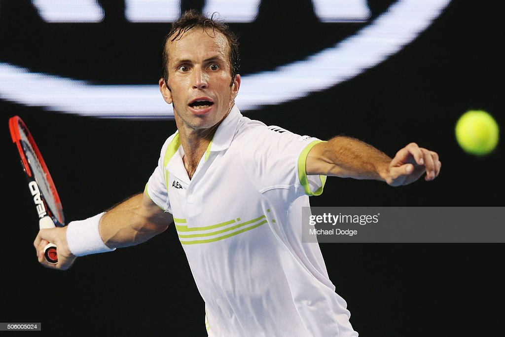 Radek Stepanek of the Czech Republic plays a forehand against Stan Wawrinka of Switzerland in his second round during day four of the 2016 Australian Open at Melbourne Park on January 21, 2016 in Melbourne, Australia.