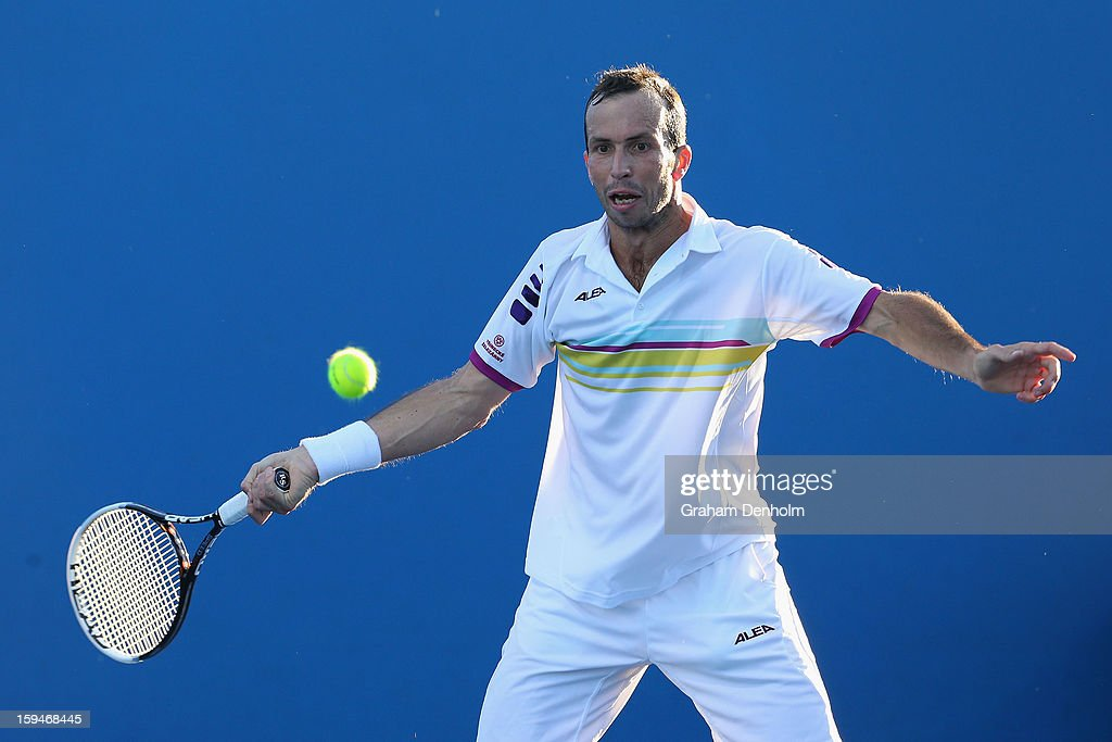 Radek Stepanek of the Czech Republic plays a forehand in his first round match against Viktor Troicki of Serbia during day one of the 2013 Australian Open at Melbourne Park on January 14, 2013 in Melbourne, Australia.