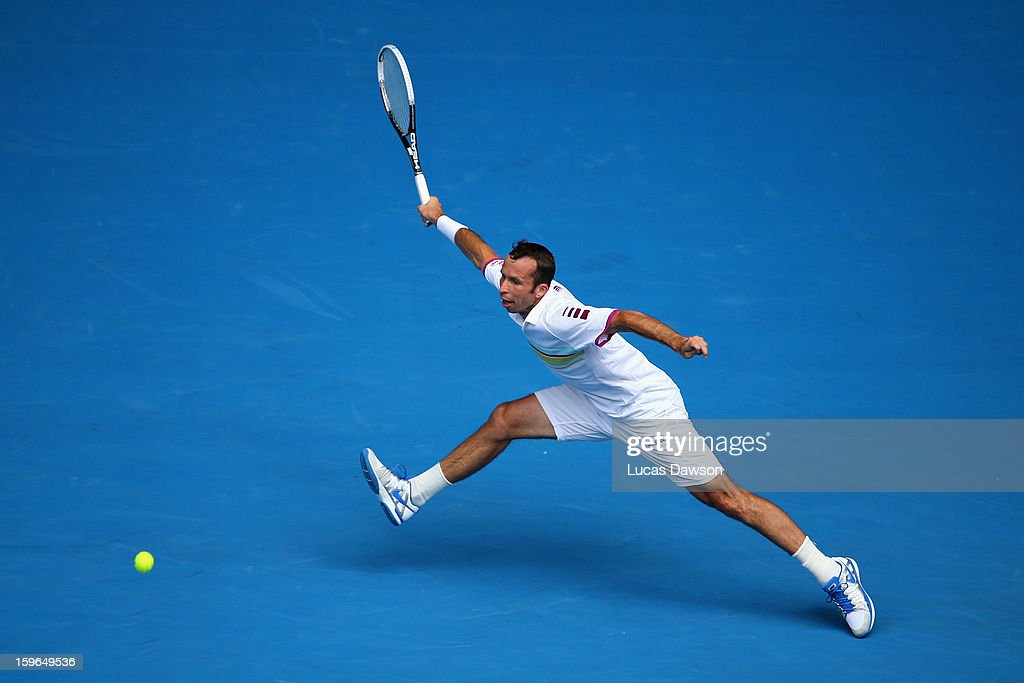 <a gi-track='captionPersonalityLinkClicked' href=/galleries/search?phrase=Radek+Stepanek&family=editorial&specificpeople=193842 ng-click='$event.stopPropagation()'>Radek Stepanek</a> of the Czech Republic plays a forehand in his third round match against Novak Djokovic of Serbia during day five of the 2013 Australian Open at Melbourne Park on January 18, 2013 in Melbourne, Australia.