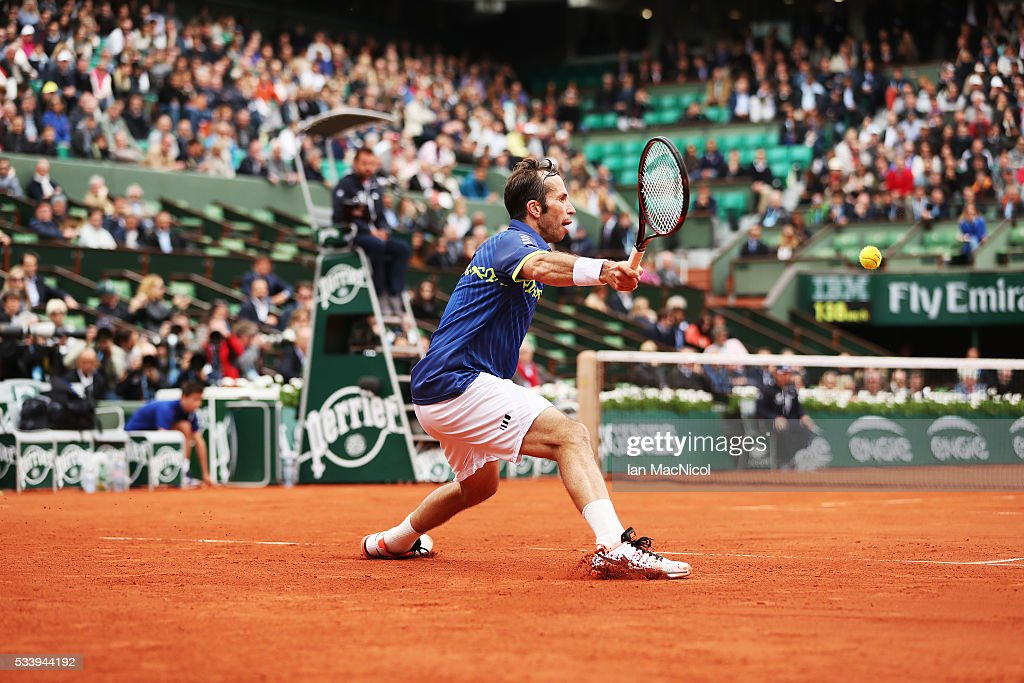 Radek Stepanek of the Czech Republic plays a shot during the Men's Singles first round match against Andy Murray of Great Britain on day three of the 2016 French Open at Roland Garros on May 24, 2016 in Paris, France .