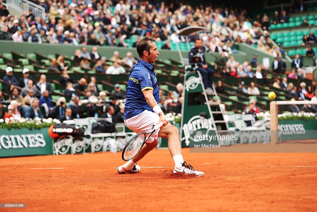 <a gi-track='captionPersonalityLinkClicked' href=/galleries/search?phrase=Radek+Stepanek&family=editorial&specificpeople=193842 ng-click='$event.stopPropagation()'>Radek Stepanek</a> of the Czech Republic plays a shot during the Men's Singles first round match against Andy Murray of Great Britain on day three of the 2016 French Open at Roland Garros on May 24, 2016 in Paris, France .
