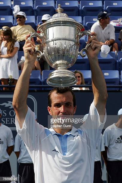 Radek Stepanek of the Czech Republic poses with the trophy after defeating James Blake after the finals of the Countrywide Classic on July 22 2007 in...