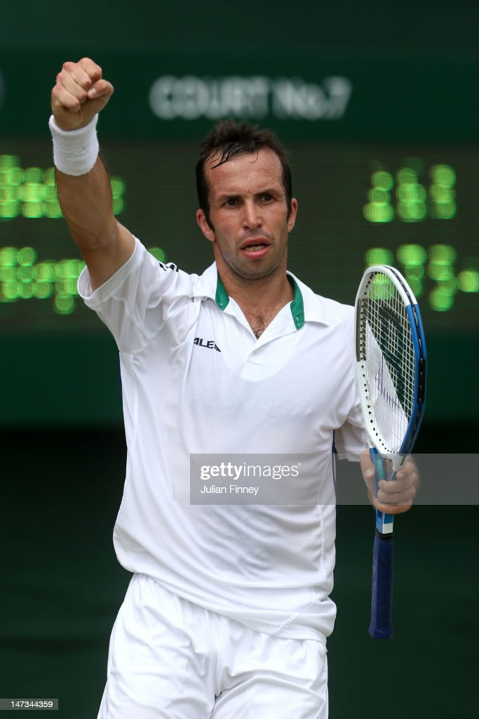 Radek Stepanek of the Czech Republic reacts after winning his Gentlemen's Singles second round match against Benjamin Becker of Germany on day four of the Wimbledon Lawn Tennis Championships at the All England Lawn Tennis and Croquet Club on June 28, 2012 in London, England.