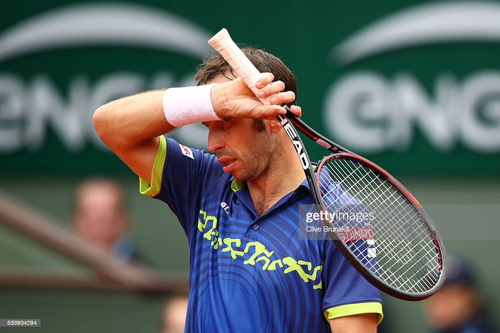 <a gi-track='captionPersonalityLinkClicked' href=/galleries/search?phrase=Radek+Stepanek&family=editorial&specificpeople=193842 ng-click='$event.stopPropagation()'>Radek Stepanek</a> of the Czech Republic reacts during the Men's Singles first round match against Andy Murray of Great Britain on day three of the 2016 French Open at Roland Garros on May 24, 2016 in Paris, France.