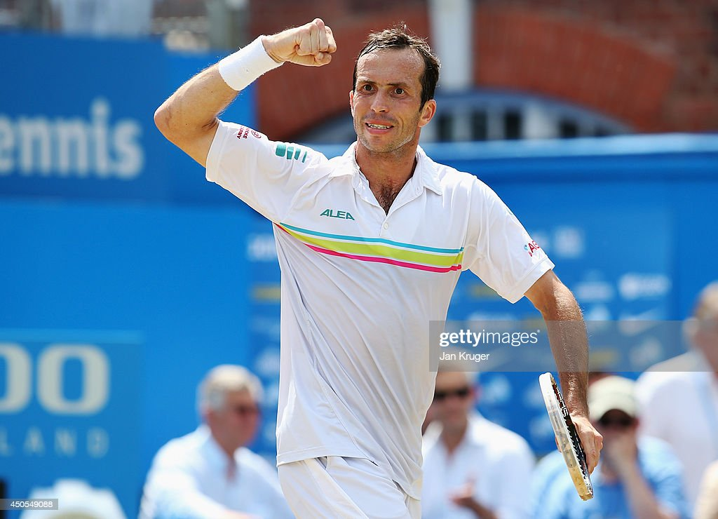 <a gi-track='captionPersonalityLinkClicked' href=/galleries/search?phrase=Radek+Stepanek&family=editorial&specificpeople=193842 ng-click='$event.stopPropagation()'>Radek Stepanek</a> of the Czech Republic reacts in his match against Kevin Anderson of South Africa during their Men's Singles match on day five of the Aegon Championships at Queens Club on June 13, 2014 in London, England.