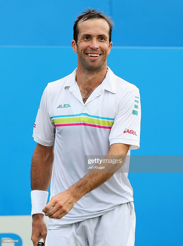 <a gi-track='captionPersonalityLinkClicked' href=/galleries/search?phrase=Radek+Stepanek&family=editorial&specificpeople=193842 ng-click='$event.stopPropagation()'>Radek Stepanek</a> of the Czech Republic reacts in his match against Feliciano Lopez of Spain during their Men's Singles semi-final on day six of the Aegon Championships at Queens Club on June 14, 2014 in London, England.