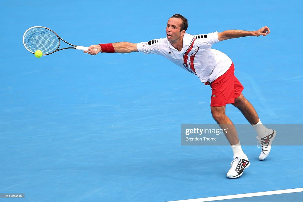 <a gi-track='captionPersonalityLinkClicked' href=/galleries/search?phrase=Radek+Stepanek&family=editorial&specificpeople=193842 ng-click='$event.stopPropagation()'>Radek Stepanek</a> of the Czech Republic receives serve in his quarter final match against Juan Martin Del Potro of Spain during day five of the 2014 Sydney International at Sydney Olympic Park Tennis Centre on January 9, 2014 in Sydney, Australia.