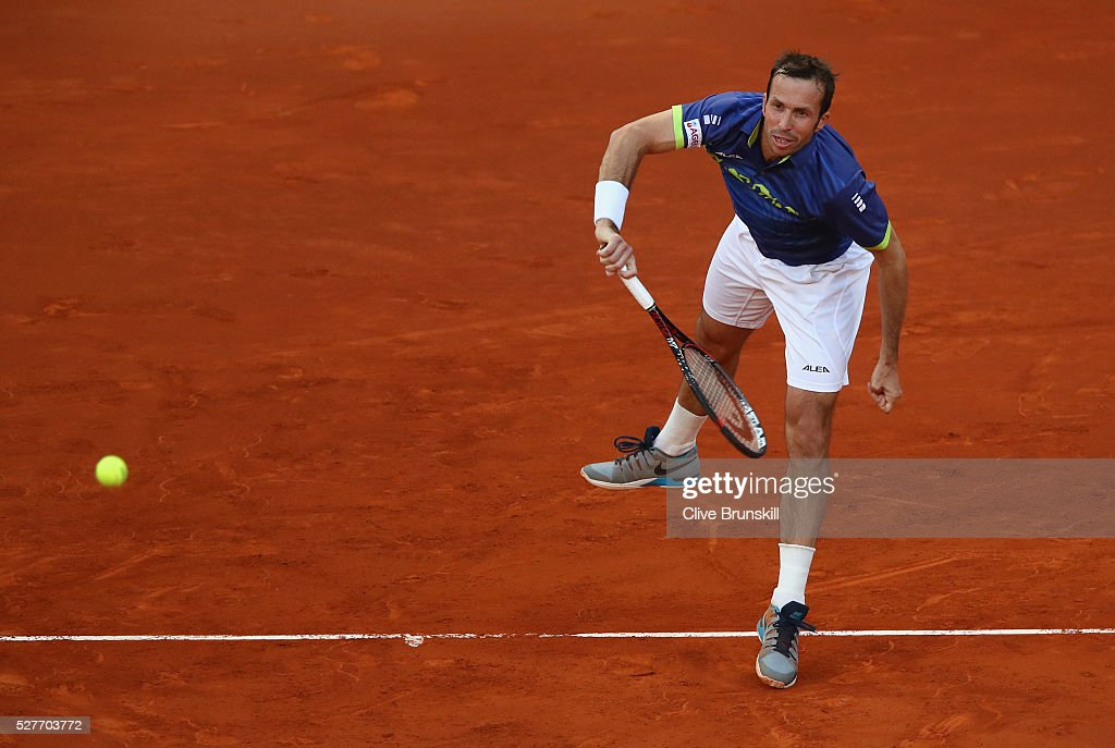 Radek Stepanek of the Czech Republic serves against Andy Murray of Great Britain in their second round match during day four of the Mutua Madrid Open tennis tournament at the Caja Magica on May 03, 2016 in Madrid,Spain.
